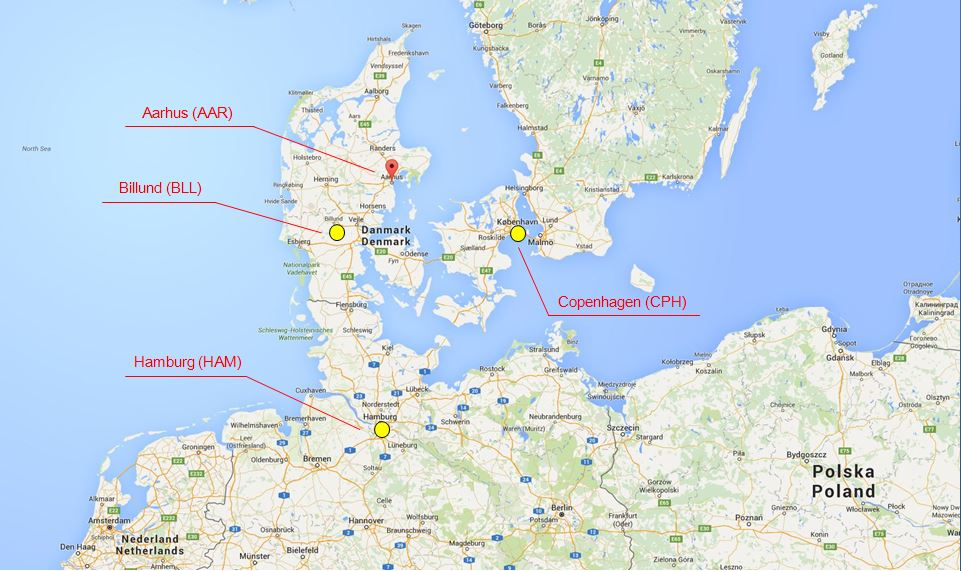 Google Map - Airports around Aarhus