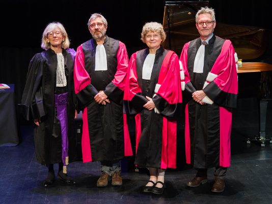 From left to right: Marie-Danièle Campion, Rector; Patrick Flandrin; Ingrid Daubechies; Jean-François Pinton