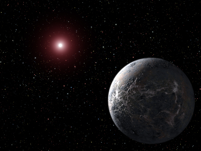 Artist's view of OGLE-2005-BLG-390L b, probable icy planet in orbit around OGLE-2005-BLG-390L, probable red dwarf star.